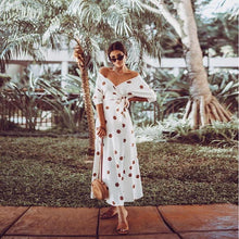 Load image into Gallery viewer, Sexy V-neck Floral Off-the-shoulder Medium Sleeve Midi Dress