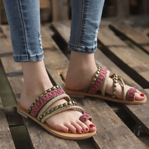Boho Beach National Style New Large Size Flat with Women Sandals