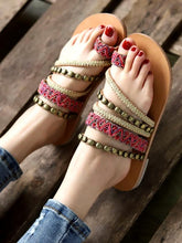 Load image into Gallery viewer, Boho Beach National Style New Large Size Flat with Women Sandals