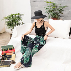 Bohemian Wide-leg Pants High Waist with Floral Pants Seaside Holiday Beach Trousers