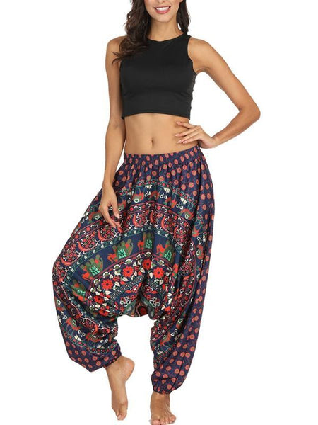 Bohemian Ethnic Style Printed Casual Pants Loose Pants