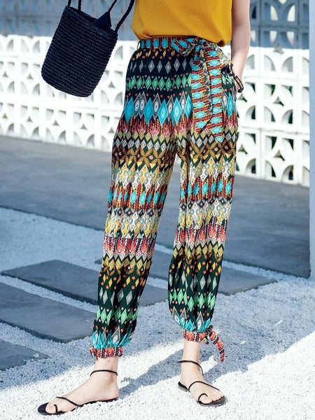 Bohemian Beach Alone Holiday Harem Pants Feet Pants National Wind Loose Long Pants