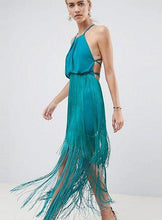 Load image into Gallery viewer, Solid Color Tassel Sling Zip Open Back Stitching Midi Dress