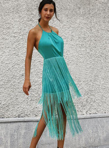 Solid Color Tassel Sling Zip Open Back Stitching Midi Dress