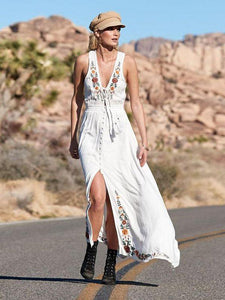 Bohemian Lace-up V-neck Embroidered Sleeveless Holiday Long Dress