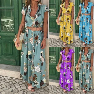 Bohemian Retro Ethnic Wind Holiday Wind V Neck Loose Waist Long Dress