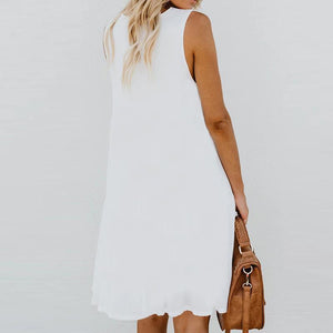 Boho V-neck Print Vest Sleeveless Loose Dress
