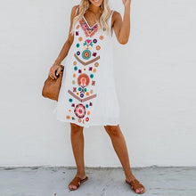 Load image into Gallery viewer, Boho V-neck Print Vest Sleeveless Loose Dress