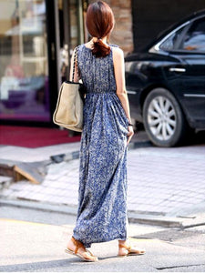 Bohemian Sleeveless Floral Dress Maxi Dress