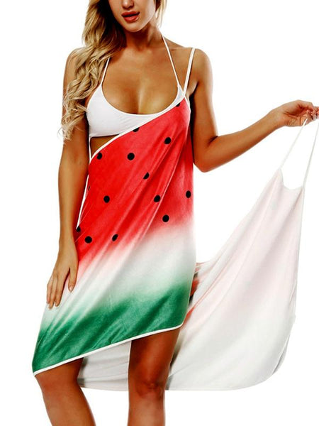 Printed V-neck Sling Beach Towel Bathrobe-1