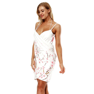 Printed V-neck Sling Beach Towel Bathrobe-2
