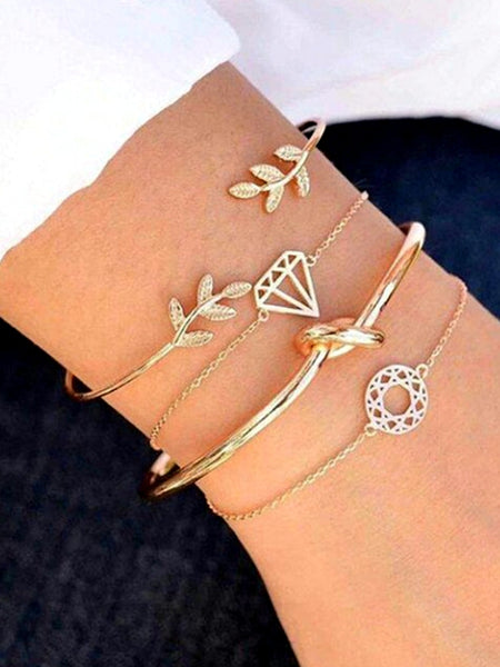 Fashion Leaf Open Bracelet Four-piece Set