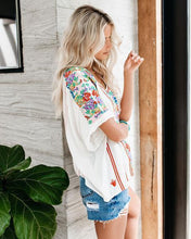 Load image into Gallery viewer, Casual V-neck Chiffon Print Short Sleeve Shirt