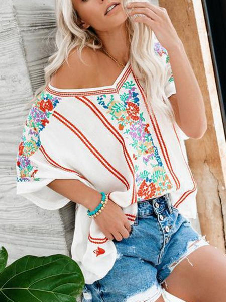 Casual V-neck Chiffon Print Short Sleeve Shirt