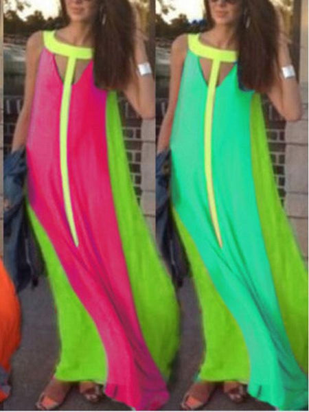 Stitching Fashion Sleeveless Dress Large Swing Long Dress