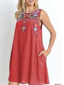 Sleeveless Round Neck Cotton and Linen Embroidered Midi Dress