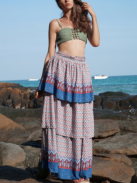 Bohemian Retro Beach Skirt Print Skirt