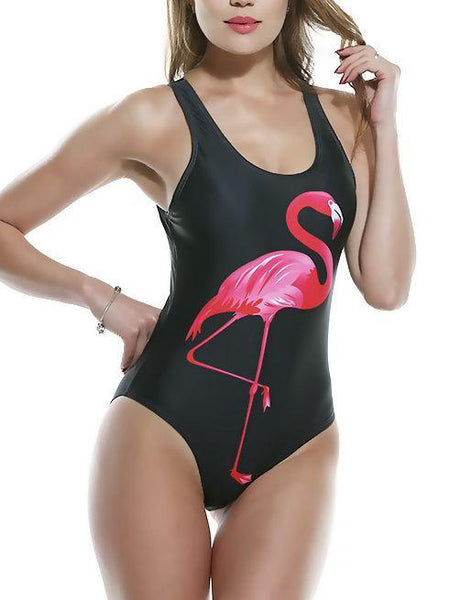Women sexy flamingo one piece swimsuit cartoon print Beachwear