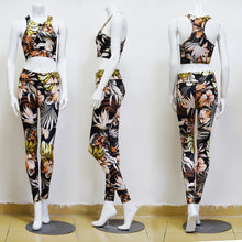 Load image into Gallery viewer, Printed Vest Trousers Sports Suit Yoga Pants Fitness Suit