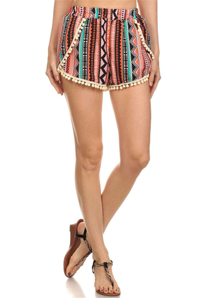 Vintage Fringed Multicolor Beach Shorts