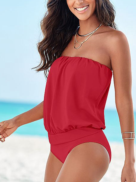 Off Shoulder Plain One Piece Swimwear
