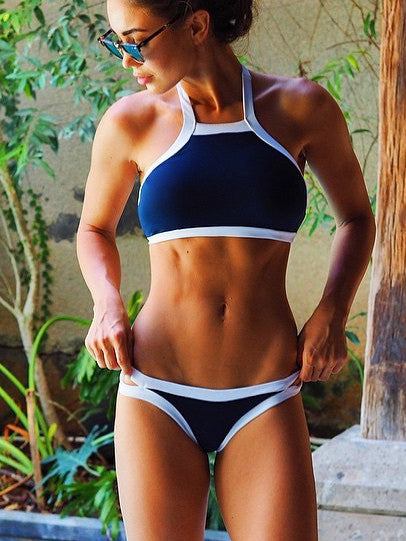 Black and White Color Matching Split Bikini