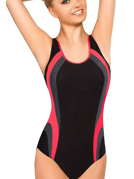 One Piece High Waist Color Matching Diving Swimsuit