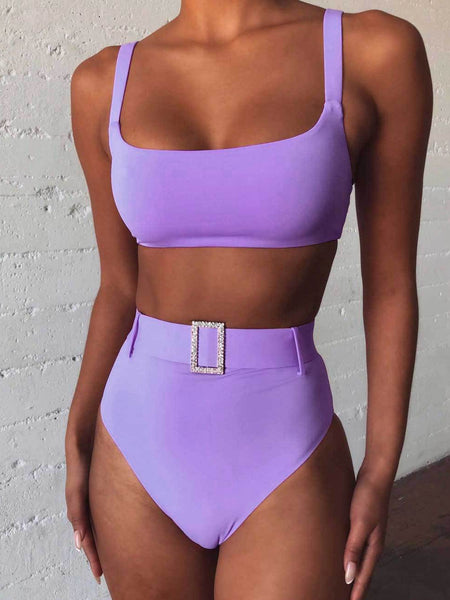 Solid Color High Waist Sexy Faux Diamond Bikini Swimsuit