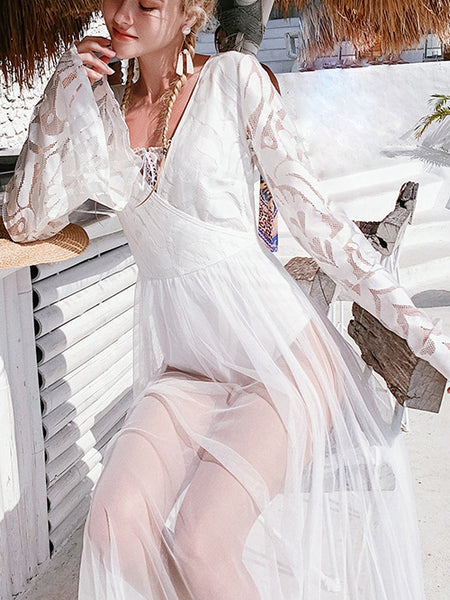 Lace Siamese Flared Sleeve Beach Blouse Skirt