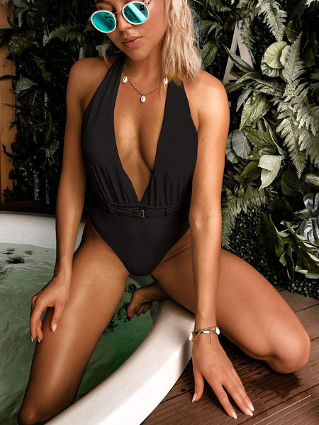 One Piece Swimsuit Women Solid Color Sexy Waist Buckle V Neck Bikini