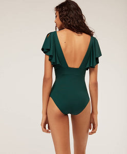 Sexy Solid Color Ruffled One-Piece Bikini