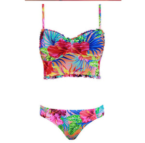 Sexy Low Rise Printed Pleated Bikini