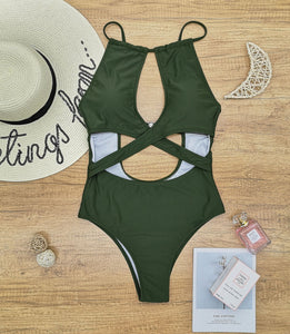 Beach Sexy Solid Color Block Backless Bikini