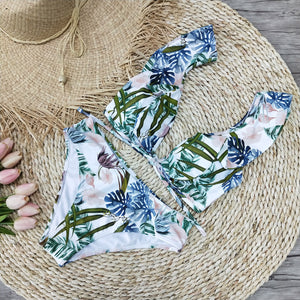 Ruffled High Waist Floral Leaf Swimsuit