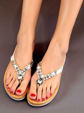 Load image into Gallery viewer, Bohemian flat heel rhinestone flip-flop women's sandals