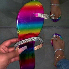 Load image into Gallery viewer, Slip-on flat rhinestone sandals plus size beach sandal