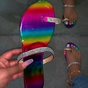 Slip-on flat rhinestone sandals plus size beach sandal