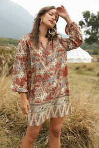 Bohemian V-neck print dress blouse