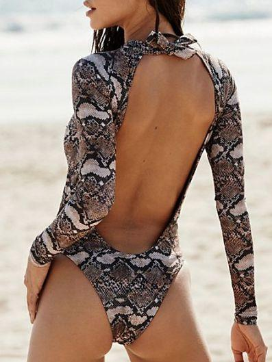 Snake Print Long Sleeve Halter Women's Swimsuit