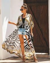 Load image into Gallery viewer, Chiffon printed spot leopard beach sunscreen holiday cardigan