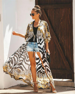 Chiffon printed spot leopard beach sunscreen holiday cardigan