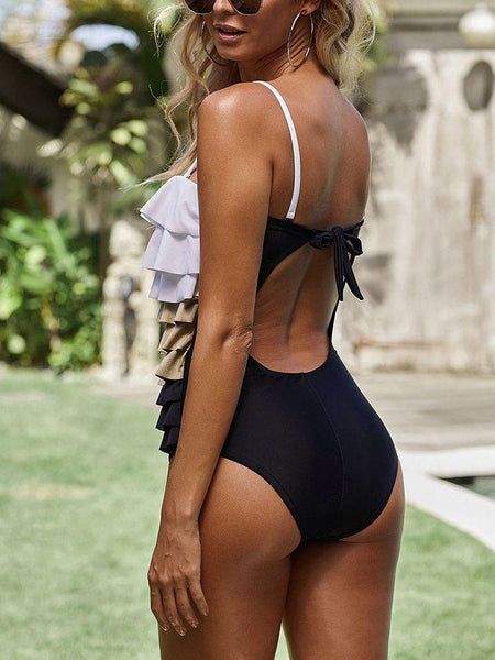 Sexy suspender ruffle one-piece swimsuit