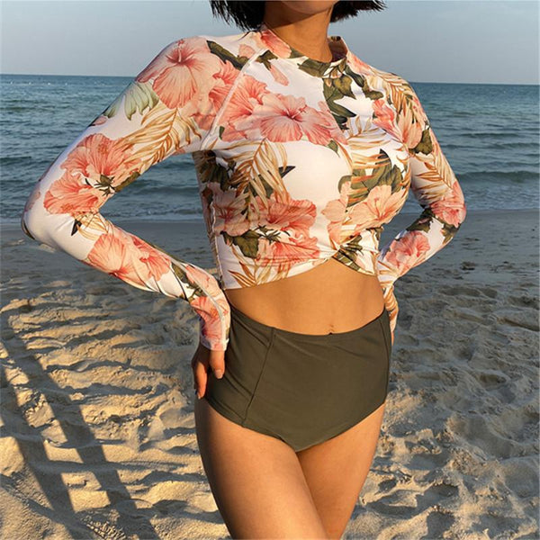 Body Swimsuit Women'sming High Waist Long Sleeve Surfing