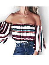 Load image into Gallery viewer, Print Off Shoulder Half Sleeve Tops Shirts Blouse