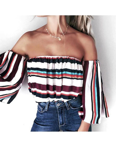Print Off Shoulder Half Sleeve Tops Shirts Blouse