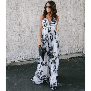Floral Print V Neck Spaghetti Strap Bohemia Beach Maxi Dress