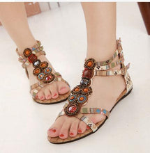 Load image into Gallery viewer, Vintage Bohemia Beach Flat Heel Sandals