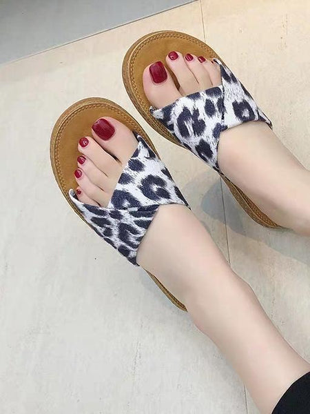 Women Summer Leopard Flat Slippers