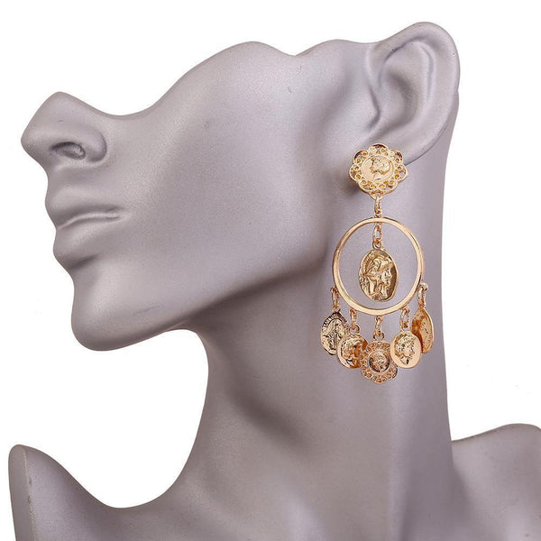Baroque Mississippi Style Head Coin Circle Hollow Earrings