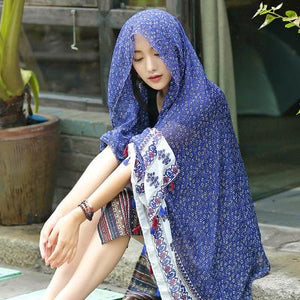 Oversized Spring And Summer Women Solid Color National Wind Sunscreen Silk Scarf Long Paragraph Shawl Beach Towel